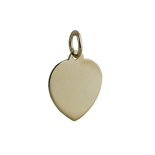 18ct Gold 14x14mm plain heart Disc