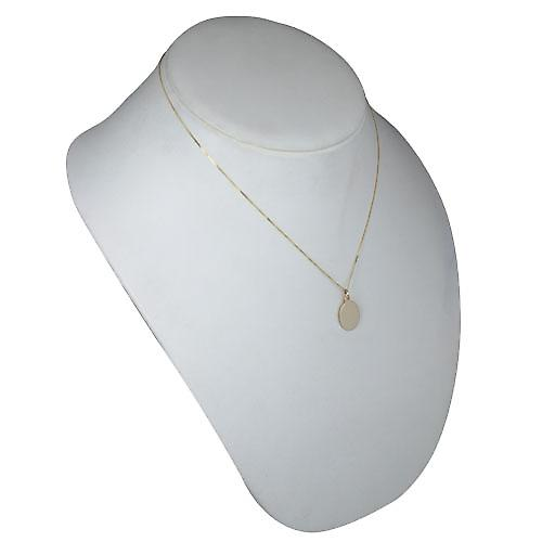 9ct Gold 17x14mm plain oval Disc with Belcher chain
