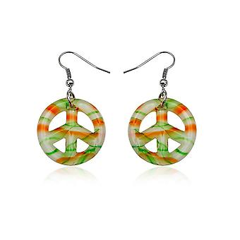 Peace Orange and green in glass of Murano earrings