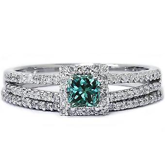 3 / 4ct blå Diamond Princess Cut Halo diamant förlovningsring Ställ 14K vitt guld