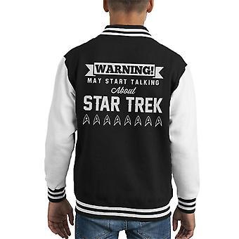 Warning May Start Talking About Star Trek Text Kid's Varsity Jacket