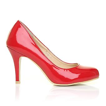 PEARL Red Patent PU Leather Stiletto High Heel Classic Court Shoes