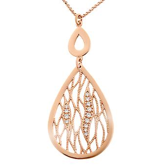 Orphelia Silver 925  Necklace Rose Drop Shaped Zirc  ZK-7188/RG