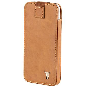 Samsung Galaxy S6 Edge+ (plus) Tan Usa Leather Pouch / Sleeve Case