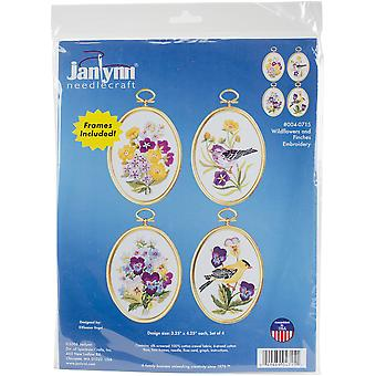 Wildflowers & Finches Embroidery Kit Set Of 4-3.25