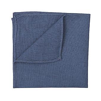 Dark Blue Hopsack Linen Pocket Square