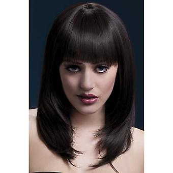 """Smiffy's Fever Tanja  Wig Brown, Feathered  With Fringe (19"""", 48cm)"""