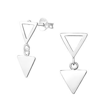Hanging Triangle - 925 Sterling Silver Plain Ear Studs - W37755X
