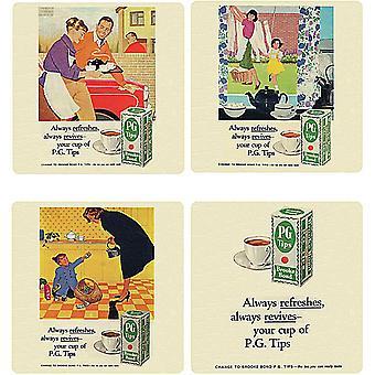 Pg Tips Tea Set Of 4 Cork Backed Drinks Coasters
