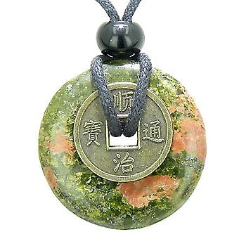Antique Lucky Coin Spiritual Powers Amulet Unakite Gemstone 30mm Donut Pendant Necklace