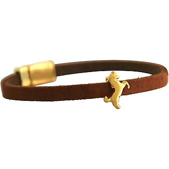 GEMSHINE Brown Leather Bracelet with Unicorn. Girls gift gilt, rose, silver. In a fine case. Made in Munich, Germany.