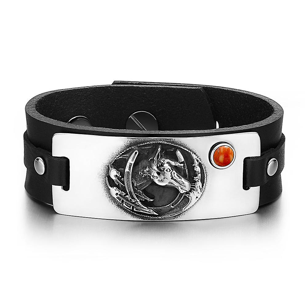 Brave Mustang Amulet and Lucky Horse Shoe Amulet Mustang Tag Red Jasper Gemstone Adjustable Black Leather Bracelet cae10e