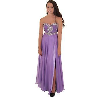 Ladies Strapless Jewel Bridesmaid Prom Elegant Wedding Chiffon Split Maxi Dress
