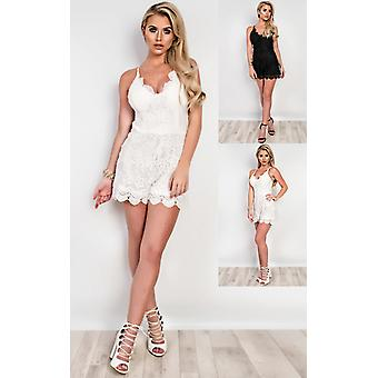 IKRUSH Womens Stacie Lace Playsuit