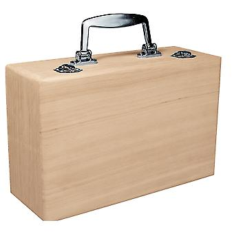 Wood Suitcase with Clasp to Decorate 25x16x9cm | Wooden Boxes for Crafts