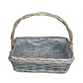 Small Rectangular Wicker Flower Basket With Plastic Lining