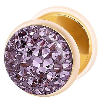 Fake Cheater Ear Plug Gold Plated, Earring, Body Jewellery, with Multi Crystal Tanzanite Purple