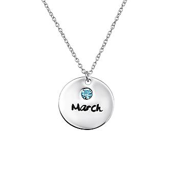 MarchBirthstone - 925 Sterling Silver Jewelled Necklaces - W30216X
