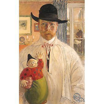 Self-Portrait, Carl Larsson, 40x60cm with tray