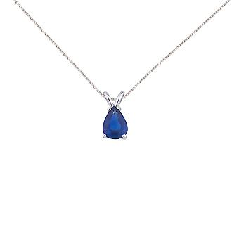14k White Gold Pear Shaped Sapphire Pendant with 18