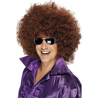 Espeso marrón peluca Afro, peluca Afro. Mega gran 1970 discoteca, vestido de lujo