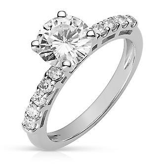 14K White Gold Moissanite by Charles & Colvard 7.5mm Round Moissanite Engagement Ring, 1.80cttw DEW