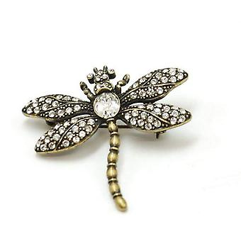 Dragonfly Brooch Goldtone Oxidised Rhinestone Set Brooch - The Olivia Collection