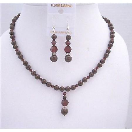 Maroon Pearls Swarovski Dark Siam Red Crystals Drop Down Jewelry Set