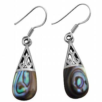 Abalone Shell Inlaid Sterling Silver 92.5 Earrings Teardrop
