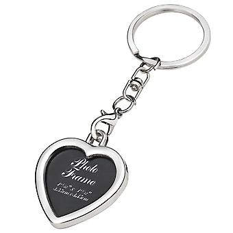 Miniature Silver Heart Photo Frame Keychain Split Ring Gift for Her - By TRIXES