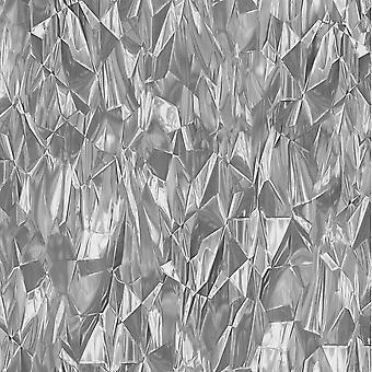 3D-Effekt zerkleinert Crystal geometrische moderne Tapetenkleister die Wand Vinyl P + S weiß/grau