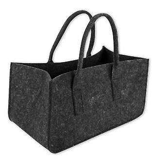 Fireplace wood bag anthracite anthracite, from rugged polyester felt, with Henkel.