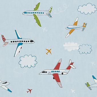 Vliegtuig Clouds Sky Childrens Wallpaper blauw rood groen vliegtuig wasbaar Rasch