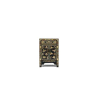 The Nine Schools Oriental Decorated Black Small Cabinet - Baumhaus