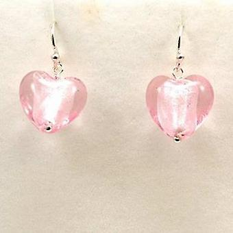 The Olivia Collection Sterling Silver Pink Murano Glass Heart Drop Earrings