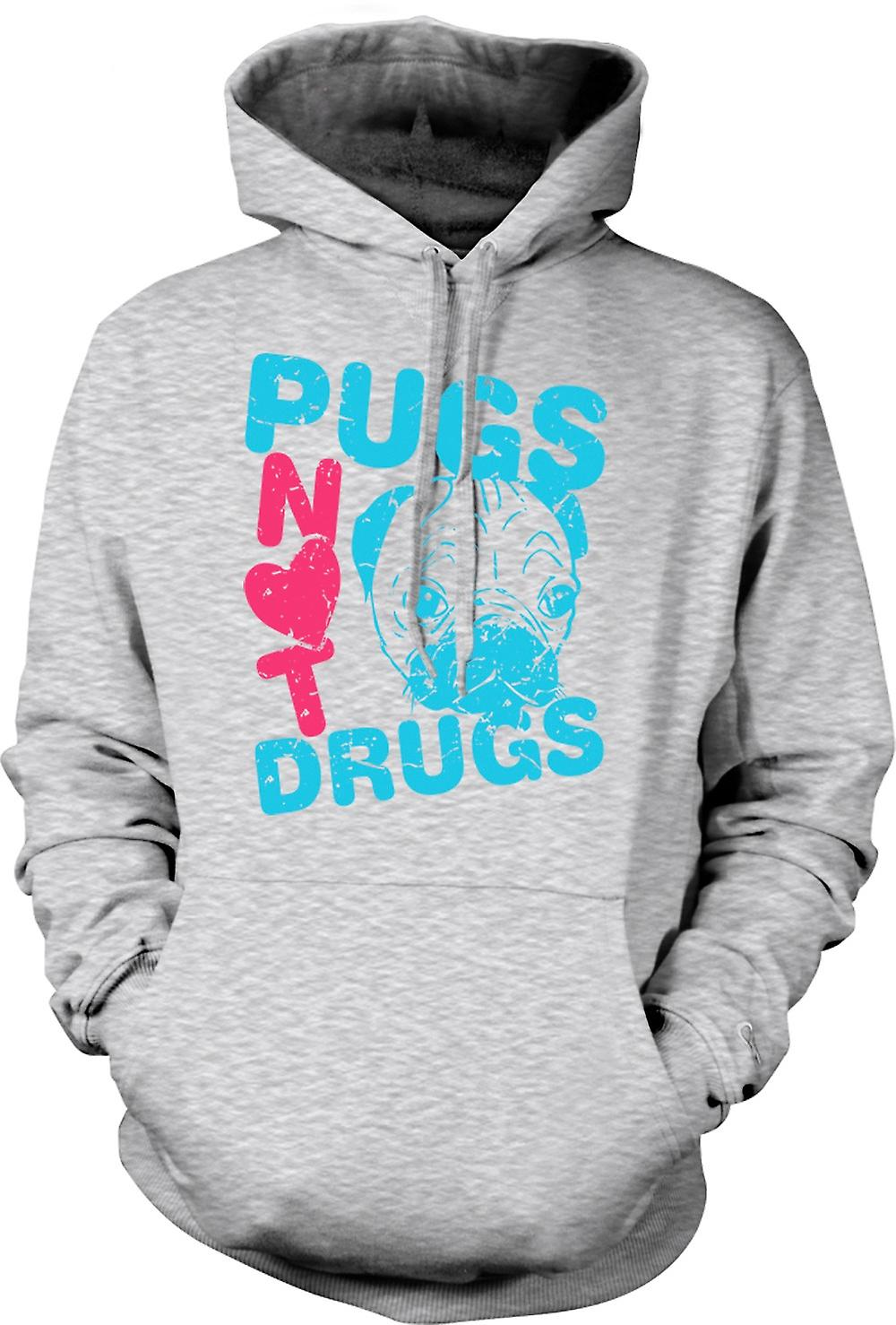 Mens Hoodie - Pugs Not Drugs Funny