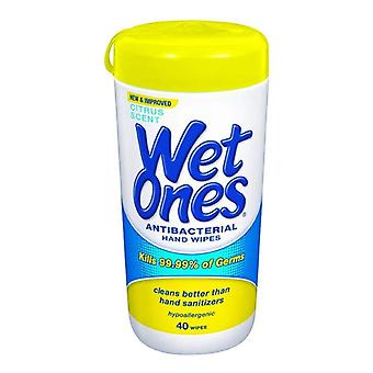 Wet ones antibacterial hand wipes, citrus, 40 ea