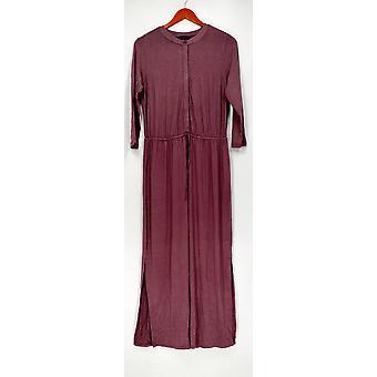 H door Halston jurk 3/4 mouw Maxi met koord Plum Purple A275437