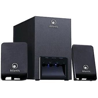 Atlantis land p003-c121 pc speaker system 2.1 subwoofer wooden power tot 13w rms usb interface color black