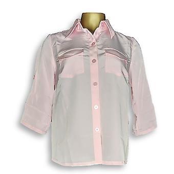 Susan Graver Women's Top XXS Peachskin Solid Roll Tab Shirt Pink A87186