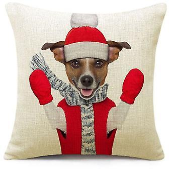 Wellindal Funda De Cojín Perro De Navidad (Decoración , Cojines)