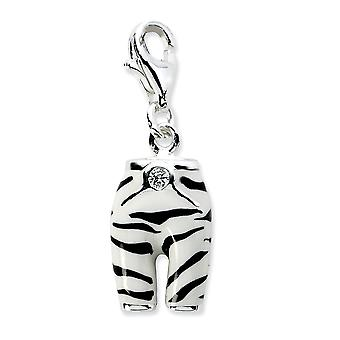 925 Sterling Silver Rhodium-plated Fancy Lobster Closure Click-on Cubic Zirconia Enamel Zebra Pants Charm - Measures 28x