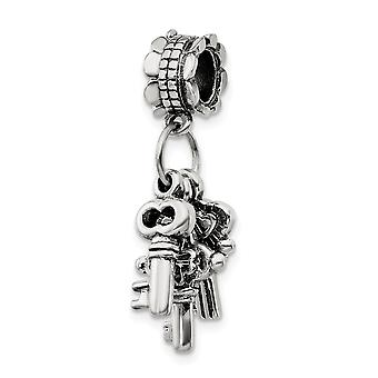 925 Sterling Silver Polished Antique finish Reflections SimStars Keys Dangle Bead Charm