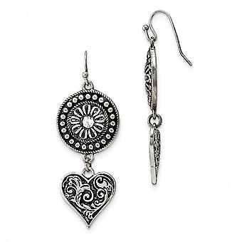 Silver-tone Shepherd hook Heart and Sunburst With Clear Crystal Dangle Earrings