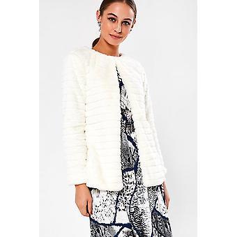 iClothing Karen Cropped Fur Jacket In Cream-16