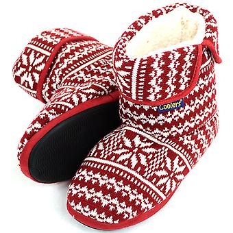 Mens Knitted Style Warm Fleece Lined Slipper Boots / Booties  - Red - Small (UK7 / UK8)