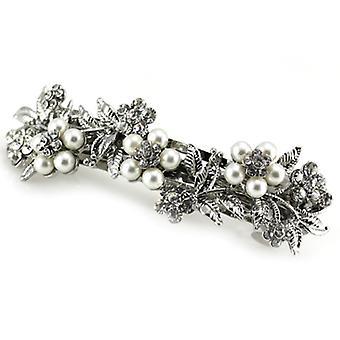 Bridal Silver Pearl & Crystal Daisy Floral Hair Barrette/ Clip