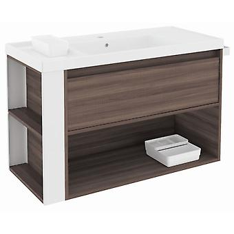 Bath+ 1 Drawer Cabinet + Shelf With Resin Basin Fresno-White 100cm