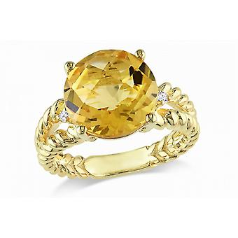 Affici Sterling Silver Cocktail Ring  18ct Yellow Gold Plated ~ 3 Carat Citrine CZ Gem