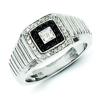 Sterlingsilber polierte Zinke set Geschenk Box rhodinierten Rhodium Plated Black und White Diamond Mens Ring - Ring Siz